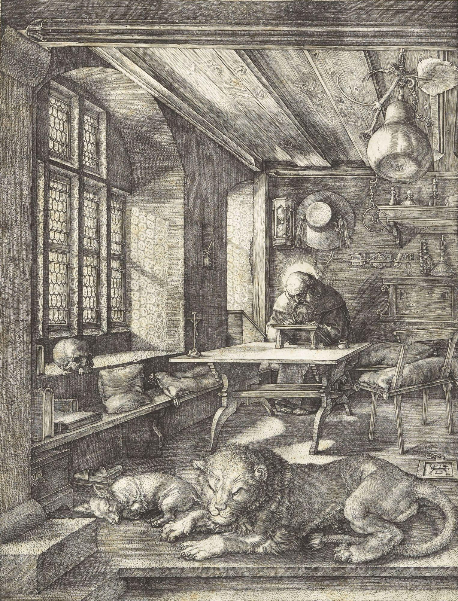 Dürer : Saint Jérome, son lion et un crâne