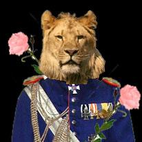 Le Lion Bleuflorophage en costume militaire drönésien