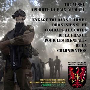 L'armée coloniale drönésienne recrute